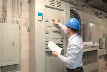 Man with control panel